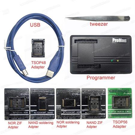 Proman Programador + 5 Adaptadores Nand Flash Tv + Pinza
