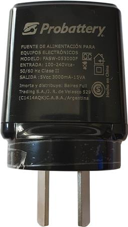 Fuente Switching 5volt 3amp Salida Usb Probattery De Pared